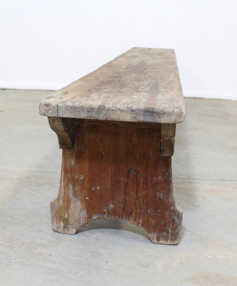 Wood Antique Primitive Elongated Bench For Sale