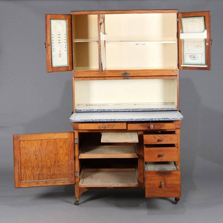 Antique Primitive Golden Oak and Enamel Hoosier Cabinet by ...