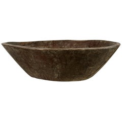 Antique Indian Naga Bowl, Old Solid Wood, Natural Rustic, Wabisabi
