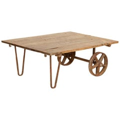 Antique Primitive Industrial Coffee Table Made from Old Work Cart