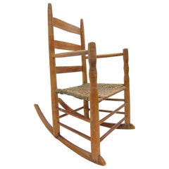 Antique Primitive Ladder Back Rocking Chair with Splint Seat Early 19th Century