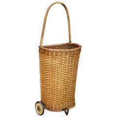 Antique Primitive Market Wicker Rolling Cart Basket