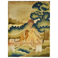 Antique Primitive Needlework of a Girl with a Cat, Dated 1815
