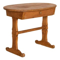 Antique Primitive Oval Pine Side Table with Single Drawer