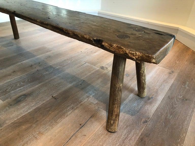 Rustic Antique Primitive Wood Bench For Sale