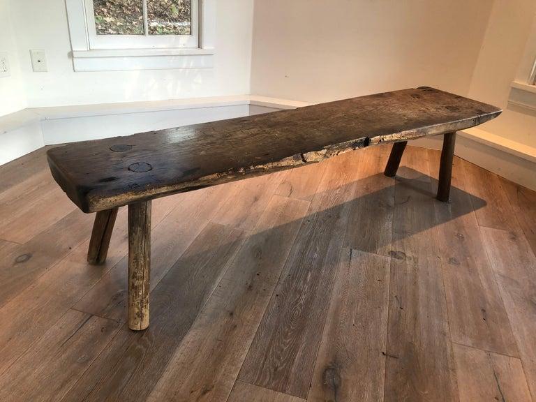 19th Century Antique Primitive Wood Bench For Sale