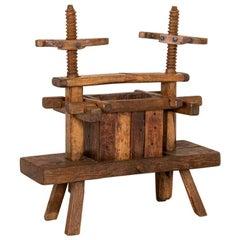 Antique Primitive Wood Wine Press, circa 1880