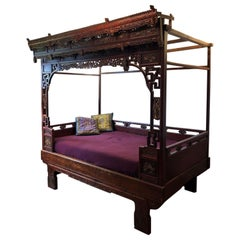 Antique Princess Large Carved Bed, China circa 1890, End of the Qing Dynasty