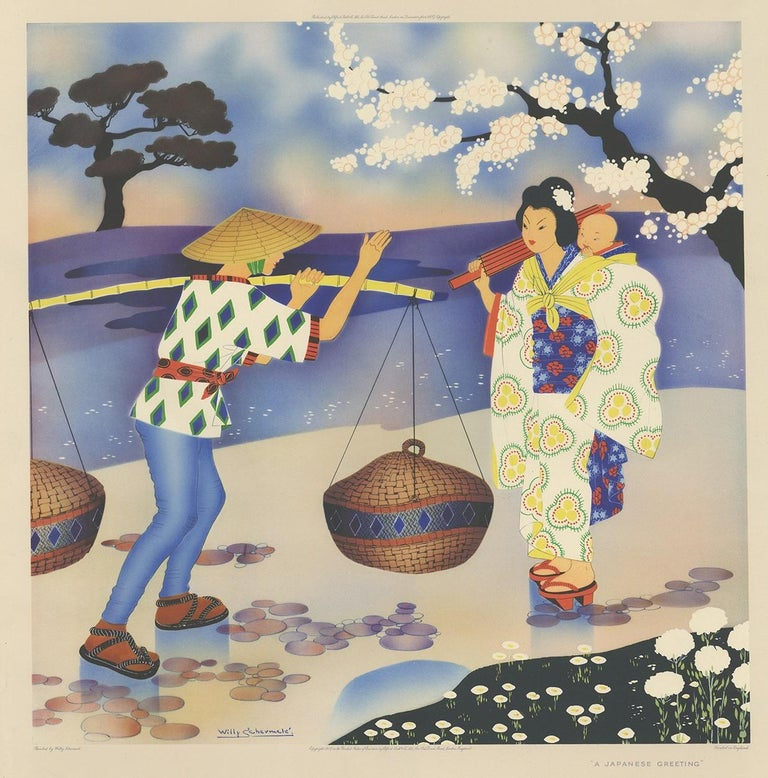 Antique print titled 'A Japenese Greeting'. This print depicts a Japanese scene. Created by Willy Schermelé, a Dutch illustrator for women and children. Printed in England.