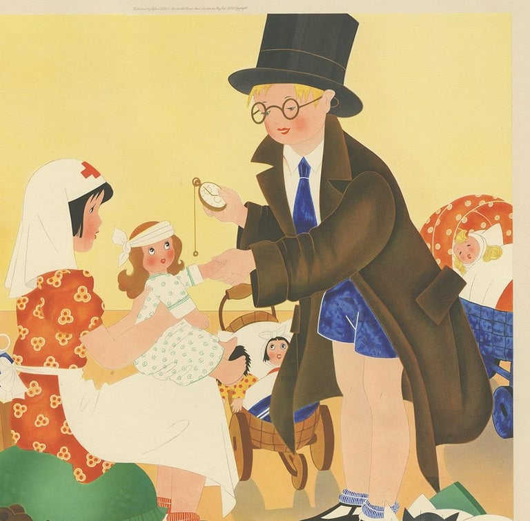English Antique Print 'Anxious Moments' by W. Schermelé, 1937 For Sale