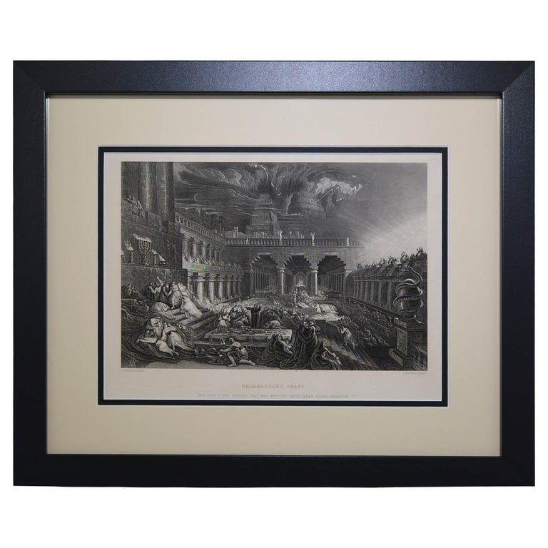 "Antique Print ""Belshazzar's Feast"" Black Frame For Sale"