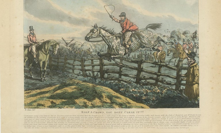 19th Century Antique Print 'Half a Crown, You Dont Clear It!!!' by H. Alken For Sale