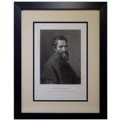 """Antique Print, """"M. Angelo Buonarroti"""""""