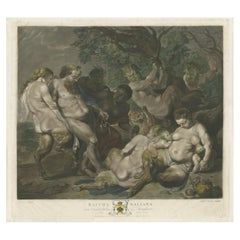 Antique Print Made after the Painting 'The March of Silenus' by Rubens '1785'