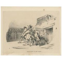Antique Print 'No. III' of Bull Fighting 'Spain' by W. Gaïl, circa 1834