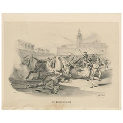 Antique Print 'No. VII' of Bull Fighting 'Spain' by W. Gaïl, circa 1834