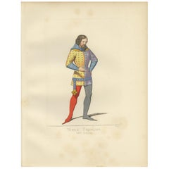 Antique Print of a 14th Century French Nobleman by Bonnard, 1860