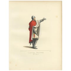 Antique Print of a 14th Century Italian Military Costume by Bonnard, 1860