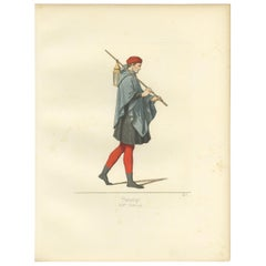 Antique Print of a 14th Century Sbirre, Italy, by Bonnard, 1860