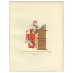 Antique Print of a 15th Century Italian Law Professor by Bonnard, '1860'