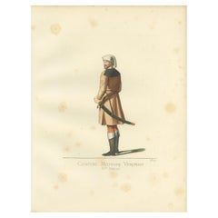 Antique Print of a 15th Century Veronese Military Costume by Bonnard, 1860