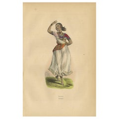 Antique Print of a Bayadère by Wahlen '1843'