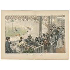 Antique Print of a Bicycle Racing Scene in Paris, 'circa 1900'