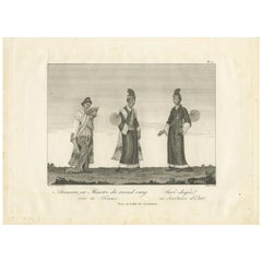 Antique Print of a Burmese Minister and Secretary by Symes, 1800
