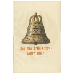 Antique Print of a Campana Bell by Delange '1869'