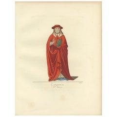 Antique Print of a Cardinal, 15th Century, by Bonnard, 1860