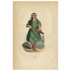Antique Print of a Carian by Wahlen, 1843
