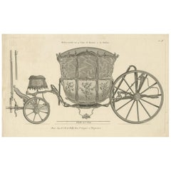 Antique Print of a Carriage by J.B. De Poilly, circa 1760