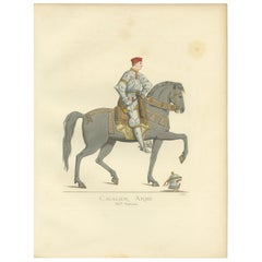 Antique Print of a Cavalry Soldier, Italy, 15th Century, by Bonnard, 1860