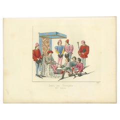 Antique Print of a Challenge at the Tournament, by Bonnard, 1860