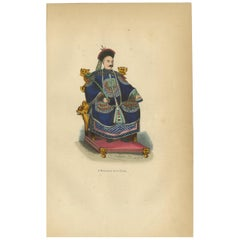 Antique Print of a Chinese Emperor by Wahlen, '1843'