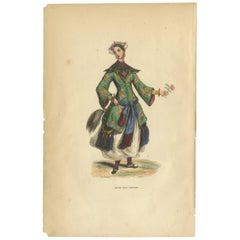 Antique Print of a Chinese Girl by Wahlen '1843'