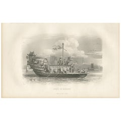 Antique Print of a Chinese Junk by D'Urville (1853)