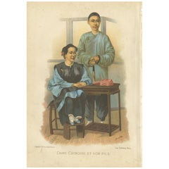 Antique Print of a Chinese Lady and her Son by Grégoire '1883'