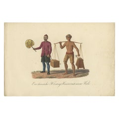 Antique Print of a Chinese Peddler and His Day Laborer by Hurter, circa 1830