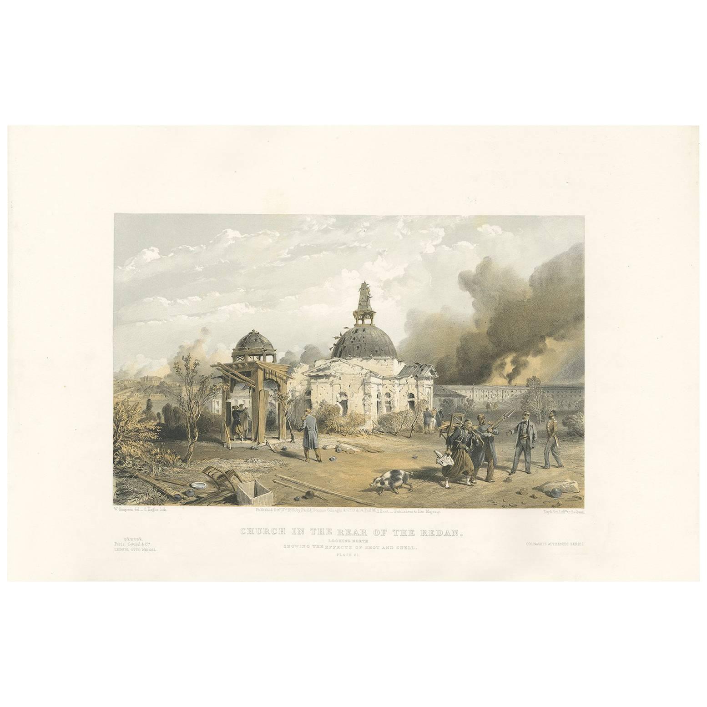 Antique Print of a Church 'Crimean War' by W. Simpson, 1855