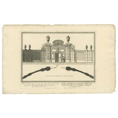 Antique Print of a Courtyard Gate by Wolff, 1736