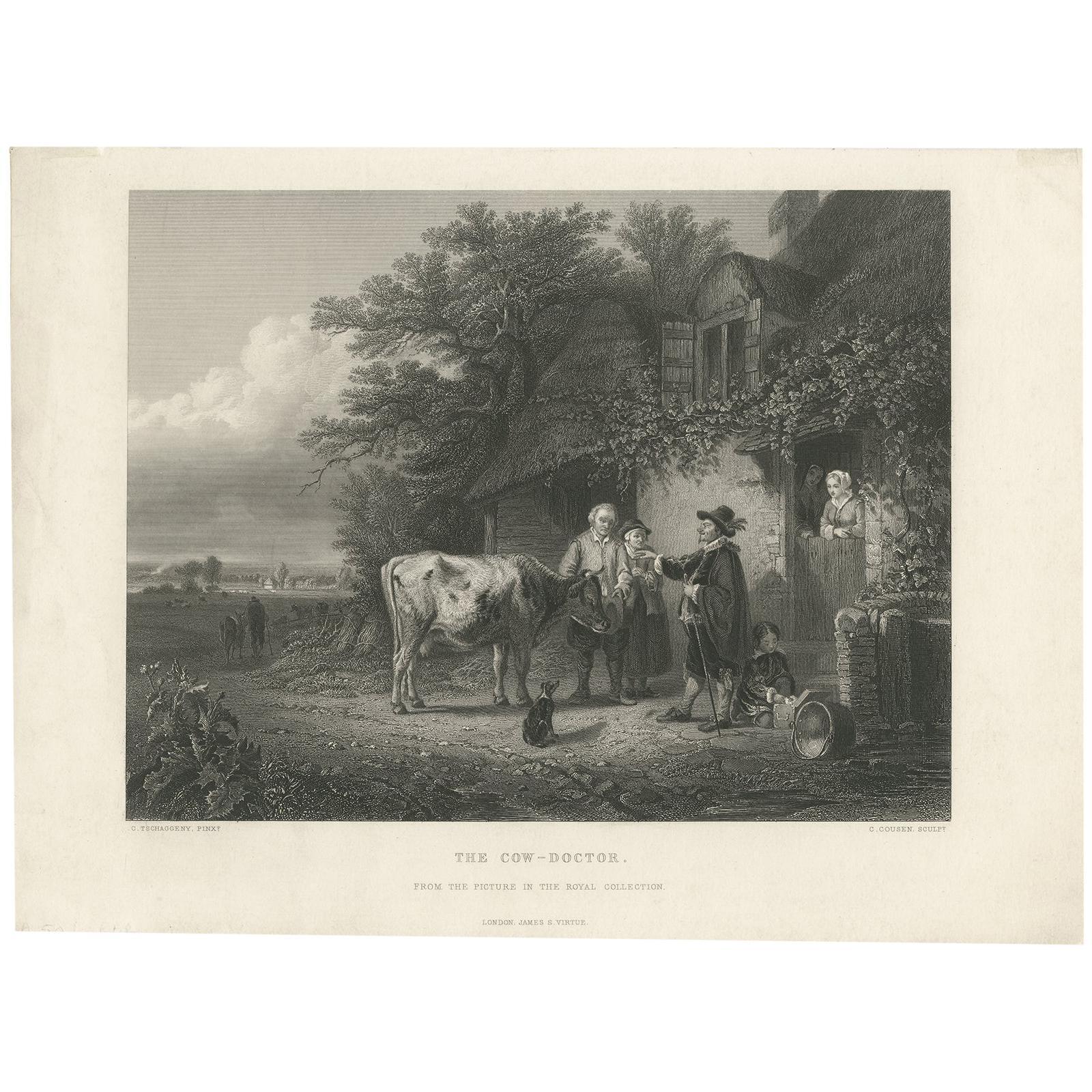 Antique Print of a Cow Doctor by Cousen, circa 1860