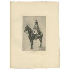 Antique Print of a Cuirassier Brigadier by Petit 'c.1890'
