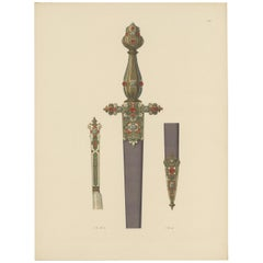 Antique Print of a Dagger Decorated with Gold and Gems by Hefner-Alteneck '1890'