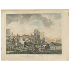 Antique Print of a Dutch Abreauvoir by J. Moyreau, circa 1750