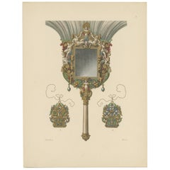 Antique Print of a Feather Duster with Mirror by Hefner-Alteneck '1890'