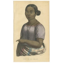 Antique Print of a Female of the Caroline Islands by Prichard, 1843