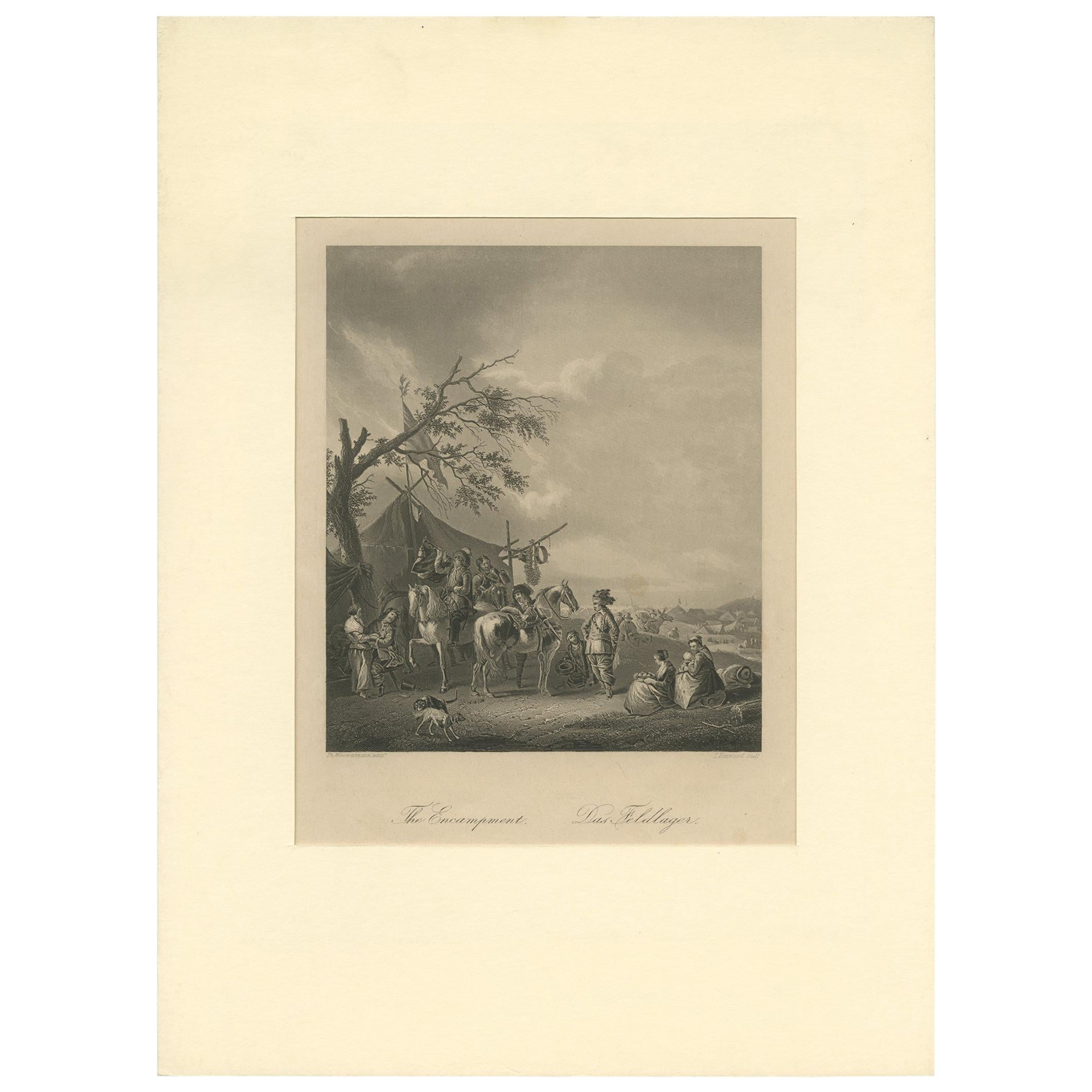 Antique Print of a Field Camp by Heawood, circa 1860