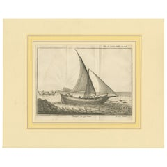 Antique Print of a Fishing Boat by Pluche '1735'