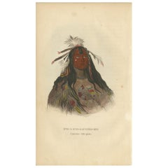 Antique Print of a Flat Head Warrior by Prichard '1843'